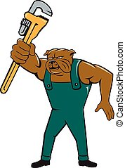 Bulldog Plumber Monkey Wrench Isolated Cartoon -...