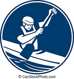 Canoe Slalom Circle Icon - Icon illustration of a man in a...
