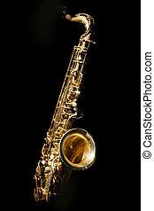 Saxophone isolated on black background
