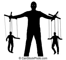 Puppet Master - Illustration of a person controlling two...