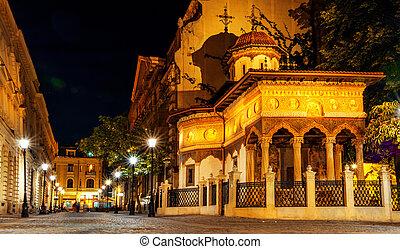 Stavropoleus Monastery - Bucharest night scene. Stavropoleus...