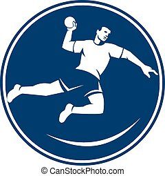 Handball Player Jumping Throwing Ball Icon - Icon...