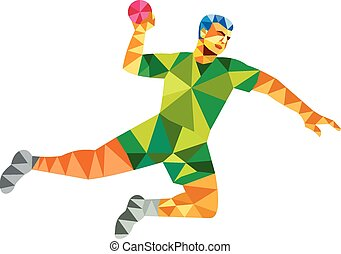 Handball Player Jumping Throwing Ball Low Polygon - Low...