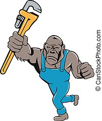 Angry Gorilla Plumber Monkey Wrench Isolated - Illustration...