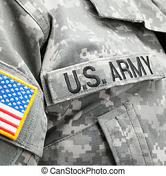USA flag and US Army patch on solders uniform