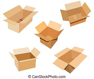 Cardboard boxes - 5 open cardboard boxes on white background