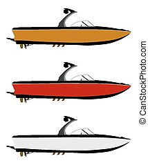 Motorboat - Set pleasure boats of different colors