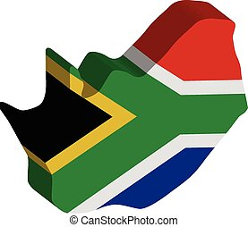 3D vector flag map of South Africa.