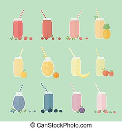 Set of fruits and berries cocktails