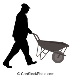 Worker with wheelbarrow - Silhouette of a worker with...