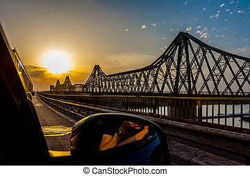 Bridge Sunset - Orange sunset on Anghel Saligny Bridge,...