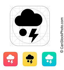 Hail with lightning weather icon.