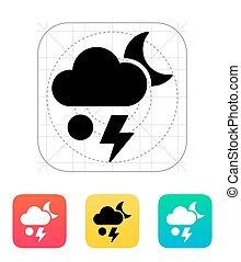 Hail at night weather icon.