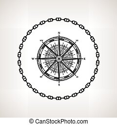 Silhouette compass rose, contour of the wind rose in the...