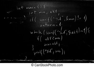 Blackboard - School blackboard with programming source code...