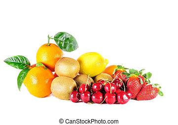 混合, フルーツ, 熟した
