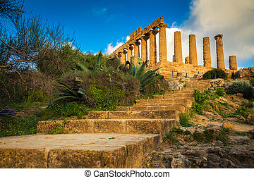 stairs leading to the Temple of Juno - ancient Greek...