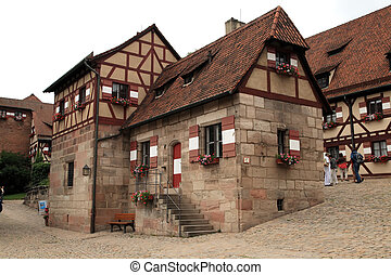NURNBERG, GERMANY - JULY 13 2014 Houses in Imperial Castle...