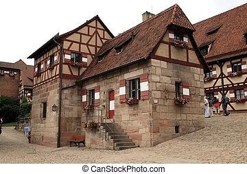 NURNBERG, GERMANY - JULY 13 2014. Houses in Imperial Castle...