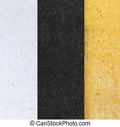 white line on the road - white and yellow line on the road...