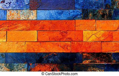 Colorful Brick Wall - Colorful brick wall with many orange...