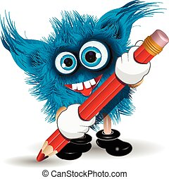 Monster with Pencil - Illustration fairy shaggy blue monster...