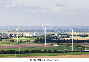 Wind turbines in flat landscape