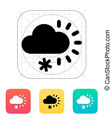 Cloudy with snow weather icon.