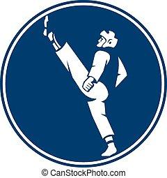 Taekwondo Fighter Kicking Stance Circle Icon