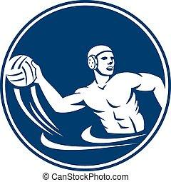 Water Polo Player Throw Ball Circle Icon - Icon illustration...