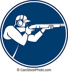 Trap Shooting Shotgun Circle Icon - Icon illustration of a...