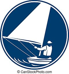 Sailing Yachting Circle Icon - Icon illustration of a man in...