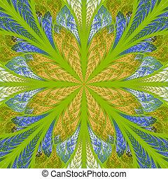 Symmetrical fractal flower in stained-glass window style. Blue,