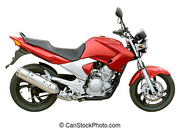 Motorcycle street - A street red motorcycle isolated over...