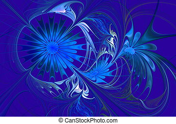 Flower background Blue palette Fractal design Computer...