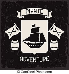 Background on pirate theme with objects and elements.