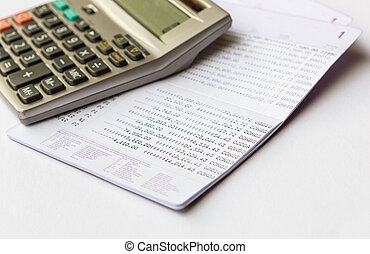 book bank statement money with calculater
