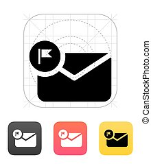 Flagged letter icon. - Flagged letter icon on white...