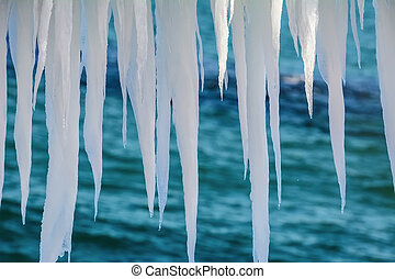 Icicles On A Background Of Sea