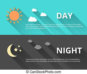 Day and night banners with sun and moon in flat style with...