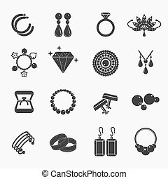 Jewelry icons - Set of jewelry icons. Earrings and rings,...