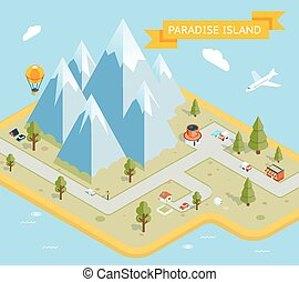Travel banner Paradise island isometric flat map Nature and...