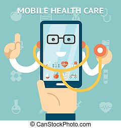 Mobile health care and medicine concept. Help and support,...