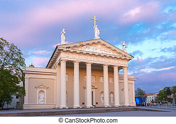 Cathedral of Vilnius at sundown light, Lithuania - Cathedral...