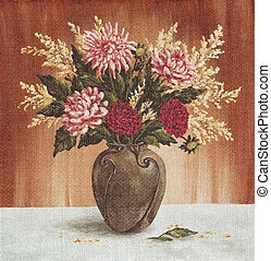 Bouquet Of Dahlias Flowers - Picture Oil Painting on a...