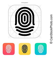 Fingerprint whorl type icon. Vector illustration.