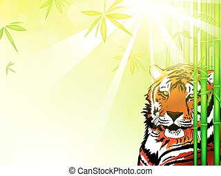 Tiger in Bamboo Forest - Illustration of Tiger Tiger in...