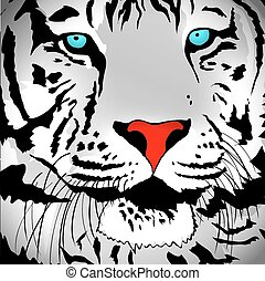 White Tiger Portrait - Illustration of Abstract White Tiger...