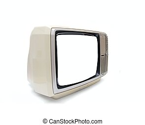 TV - Vintage TV set with blank screen on white background