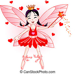 Little red fairy - Cute fairy ballerina flying. All objects...